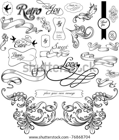 many useful decoration vintage elements - stock vector