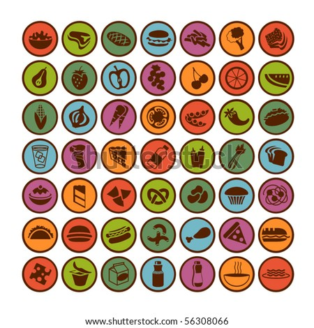 many vector food icons set 1 - stock vector