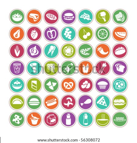 many vector food icons set 4 - stock vector