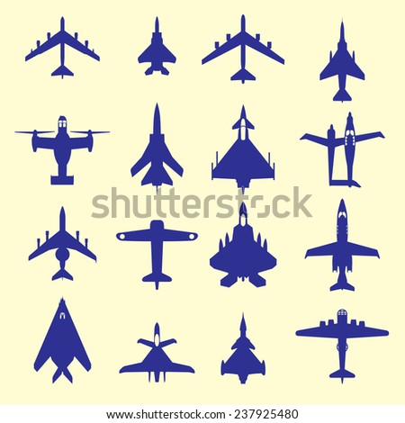 Many vector silhouettes of airplane(aircraft, plane, flight, combat, fighter) - stock vector