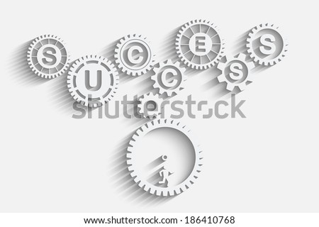 Many work for business success. Infographic gears concept - stock vector