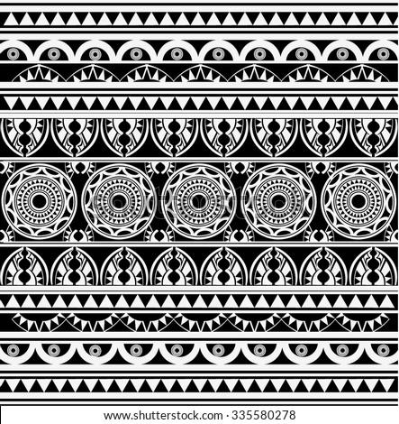 Maori / Polynesian Style tattoo black and white - stock vector