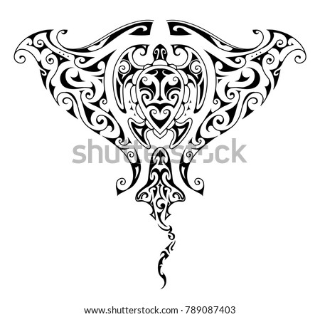 Maori Style Tattoo Design Manta Ray Stock Vector Royalty Free