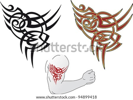 Maori styled tattoo patterns fit for a shoulder.