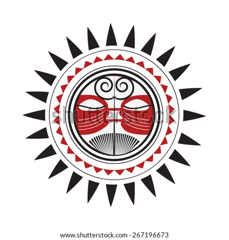 Maori Sun God - Polynesian Traditional Pattern Drawing Red and Black Sketch