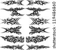 Maori tribal tattoo - Set of 6 different vector tribal tattoo in polynesian style - stock photo