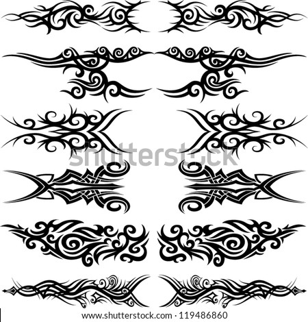 Maori tribal tattoo - Set of 6 different vector tribal tattoo in polynesian style - stock vector