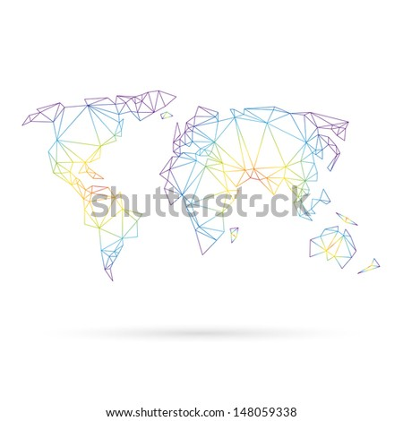 Map abstract isolated on a white background - stock vector