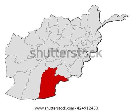 Map Afghanistan Kandahar Stock Vector 424912450 Shutterstock