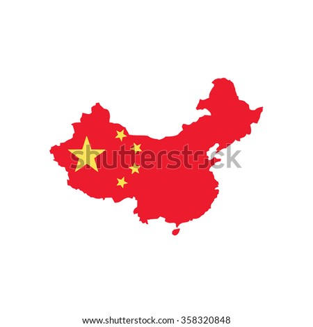 Map and flag of China - stock vector