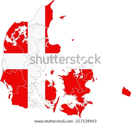 Map and flag of Denmark