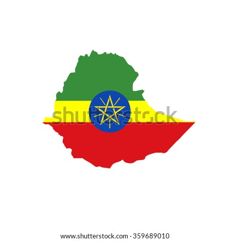 Map and flag of Ethiopia - stock vector