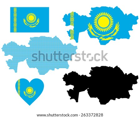 map and flag of Kazakhstan symbol on a white background - stock vector