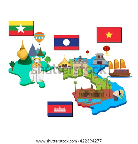 Map and flag of laos, cambodia, myanmar and vietnam.
