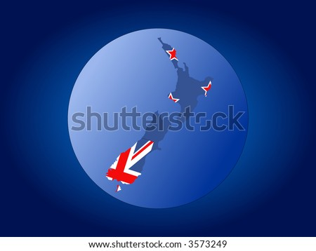 map and flag of New Zealand globe illustration