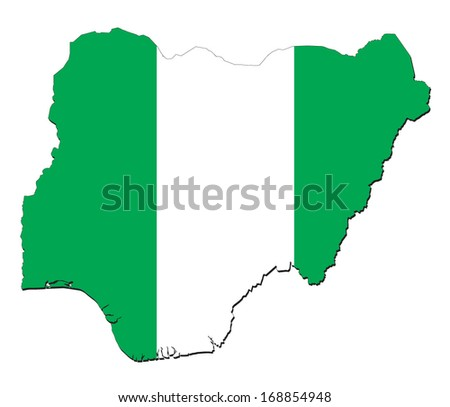 map and flag of Nigeria - stock vector