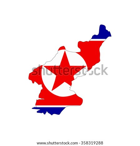 Map and flag of North Korea