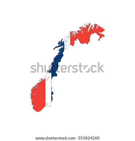 Map and flag of Norway