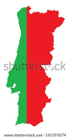 map and flag of Portugal - stock vector