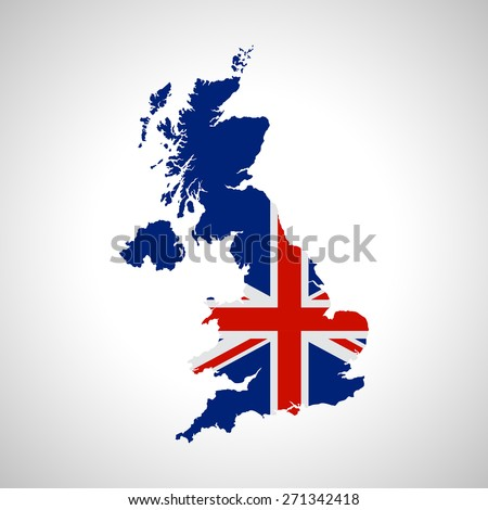 Map and flag of UK - stock vector