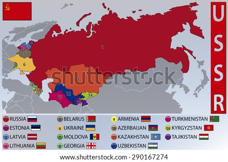 Map and Flags of the Republics of the Former USSR - stock vector