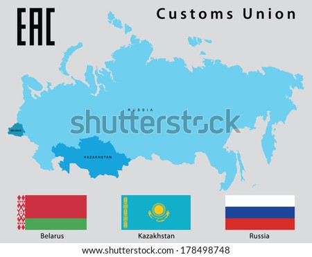 Map and flags of the states that make up the Customs Union (Belarus, Kazakhstan, Russia) - stock vector
