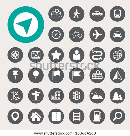 Map and Location Icons set .Illustration eps10 - stock vector