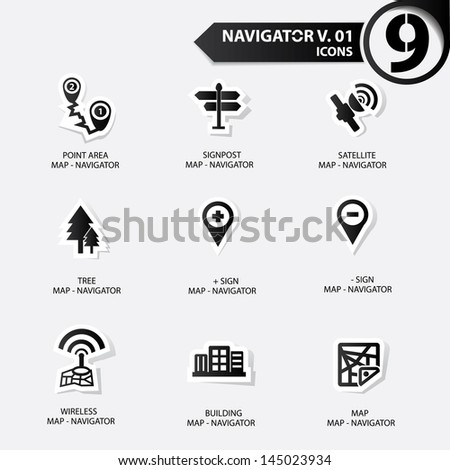 Map and Navigator icons set 1,Black version - stock vector
