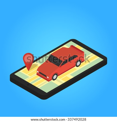 Map and pins on the screen of smartphone. Vector - stock vector