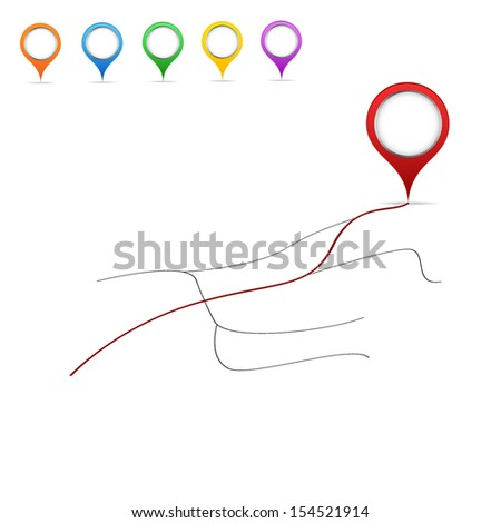 map and points - stock vector