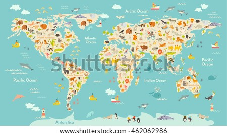 Map animal kid continent world animated stock vector 462062986 map animal for kid continent of world animated childs map vector illustration animals gumiabroncs Choice Image
