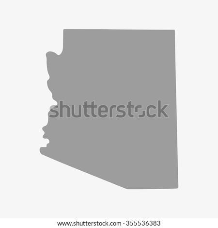Map Arizona State Gray On White Stock Vector Shutterstock - Arizona state map