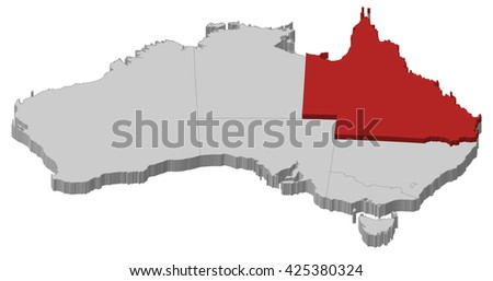 Map - Australia, Queensland - stock vector
