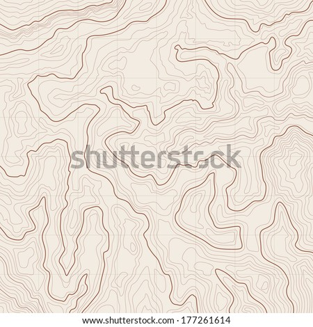 Map background with topographic contours and features - stock vector