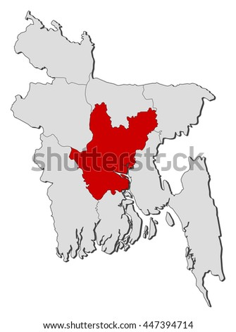 Map - Bangladesh, Dhaka