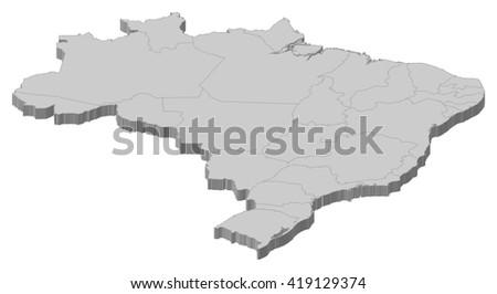 Map - Brazil - 3D-Illustration - stock vector