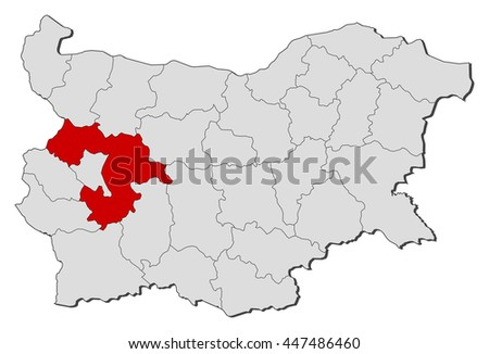 Map - Bulgaria, Sofia Province - stock vector