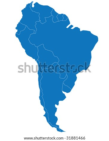 Map/Carte of South America. Separable Borders of the South American Continent - stock vector