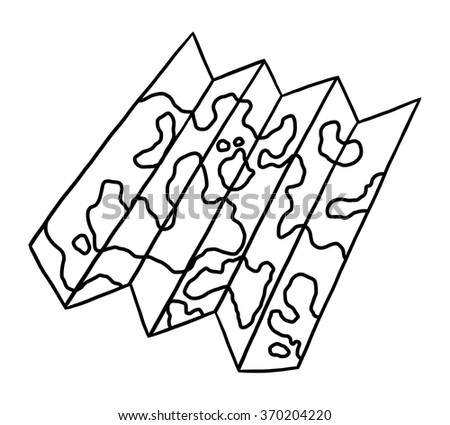 map / cartoon vector and illustration, black and white, hand drawn, sketch style, isolated on white background. - stock vector