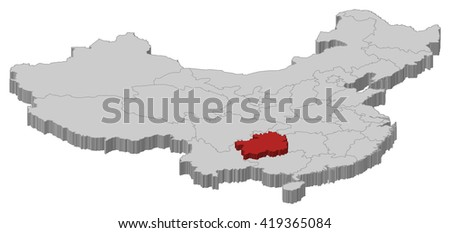Map - China, Guizhou - 3D-Illustration - stock vector