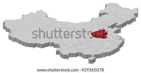 Map - China, Henan - 3D-Illustration - stock vector