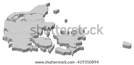 Map - Danmark - 3D-Illustration