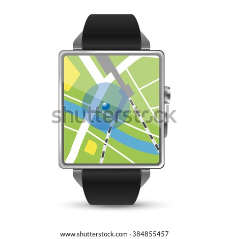 Map display of the Smart watch illustration on white background