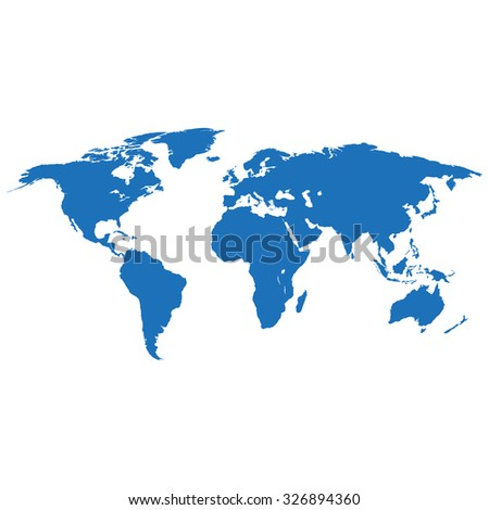 Map earth in flat design on white  background - stock vector