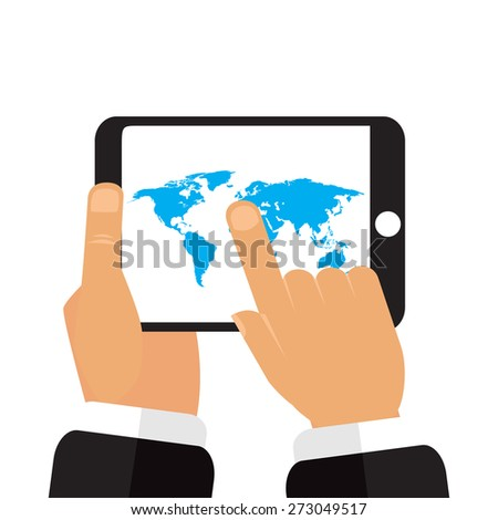 Map earth in the hands of the tablet vector