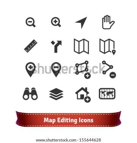 Map Editing Icon Set for Mapping Web Services - stock vector