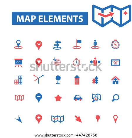 map elements, location, direction, route, car navigation, logistics, travel, positioning, compass, cartography, road, journey, searching icons, signs vector - stock vector