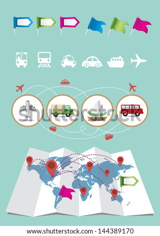 Map Elements - transportation - stock vector