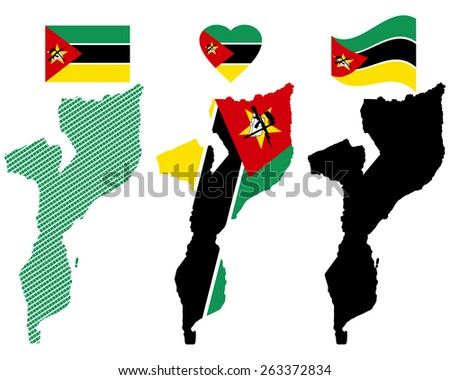 map flag and symbol of Mozambique on a white background