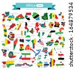 Map. Flag of Africa. vector Illustration. - stock